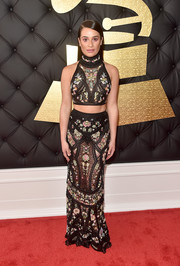 Lea Michele flashed her toned abs in an embroidered halter crop-top by Roberto Cavalli at the 2017 Grammys.
