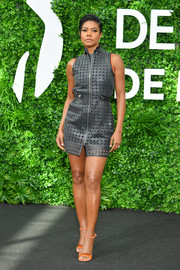 Gabrielle Union went the edgy route in a gray lattice leather dress by Hermes on day two of the 2019 Monte Carlo TV Festival.