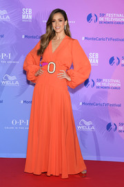 Jessica Alba was a boho beauty in a long-sleeve red-orange maxi dress by Silvia Tcherassi at the 2019 Monte Carlo TV Festival.