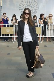 Maria Valverde arrived for the San Sebastian Film Festival carrying a Louis Vuitton bowler bag.