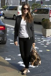 Maria Valverde arrived for the San Sebastian Film Festival looking comfy in black skinny pants, a white tee, and a zip-up jacket.