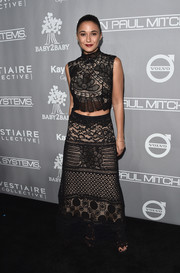 Emmanuelle Chriqui was all about modern elegance in this black lace crop-top by Martha Medeiros at the Baby2Baby Gala.