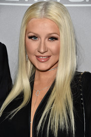 Christina Aguilera sported pin-straight, center-parted hair at the Baby2Baby Gala.