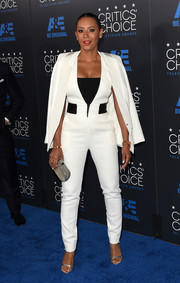 Melanie Brown finished off her outfit with a crisp white tux jacket.