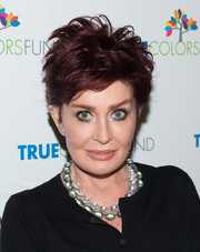 Sharon Osbourne rocked a mussed-up razor cut at the 'Cyndi Lauper and Friends: Home for the Holidays' benefit concert.