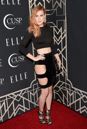 Rumer Willis made jaws drop at the Elle Women in Music celebration with this bikini line-revealing black mini skirt by Franziska Fox.