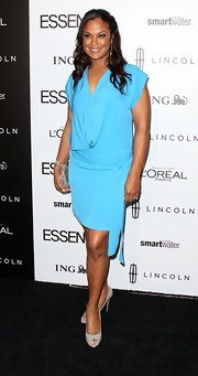 Laila Ali wore this aqua knit dress to the Essence Luncheon.