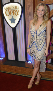 LeAnn Rimes looked sassy in a zigzag-print fishtail dress with a plunging neckline during the Opry Goes Pink show.