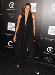 Donna Karan's drapey black jumpsuit at the PSLA Autumn Party had a '70s boho feel.