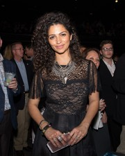 Camila Alves gave her lace gown a dose of edge with a statement chain necklace for the Mack, Jack & McConaughey Gala.