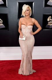 Bebe Rexha's curves were on full display in this beaded nude corset gown by La Perla at the 2018 Grammys.
