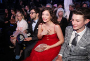 Lorde paired a dusty-pink velvet clutch with a frothy red dress for the 2018 Grammy Awards.