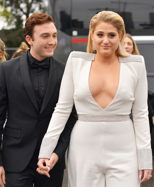 More Pics of Meghan Trainor Long Straight Cut (1 of 13) - Long Hairstyles Lookbook - StyleBistro [red carpet,hair,white,suit,clothing,formal wear,hairstyle,blond,fashion,lady,dress,daryl sabara,meghan trainor,grammy awards,california,los angeles,staples center,l,annual grammy awards]