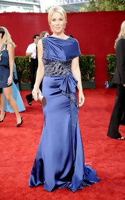 Christina looked spectacular in a navy satin gown at the Emmy Awards.