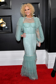 Kimberly Schlapman got frilled up in a tiffany-blue mermaid gown by Dolce & Gabbana for the 2020 Grammys.