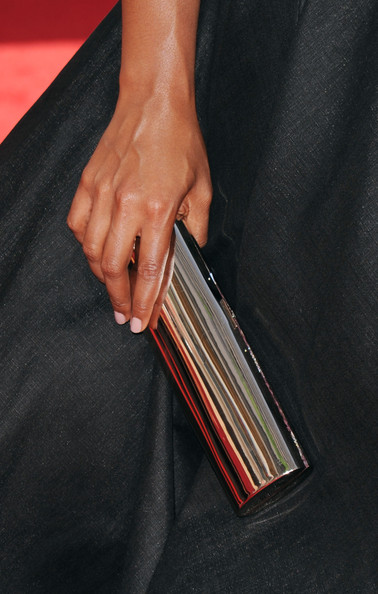 More Pics of Mindy Kaling Peep Toe Pumps (2 of 7) - Heels Lookbook - StyleBistro [hand,wallet,musical instrument,arrivals,mindy kaling,primetime emmy awards,bag detail,california,los angeles,nokia theatre l.a. live,annual primetime emmy awards]