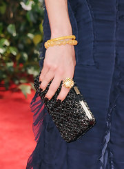 Jayma Mays paired her navy evening gown with a beautifully embellished box clutch.