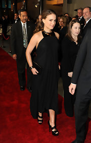 Natalie Portman donned strappy black satin Labrie platforms with knotted accents to the DGA Awards.