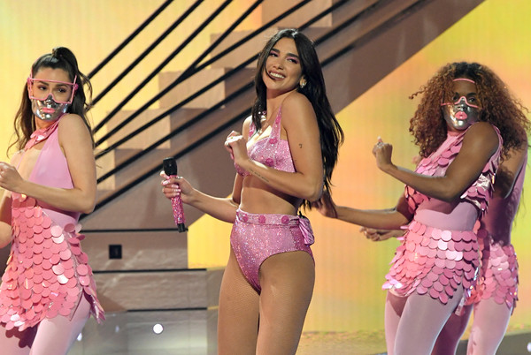 Dua Lipa looked flirty in her bedazzled pink lingerie while performing at the 2021 Grammys.