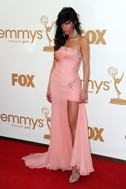 Paz de la Huerta looked ultra-dramatic in a strapless pink chiffon gown for the Emmy Awards in September.