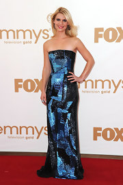 Claire Danes shined at the 2011 Emmys in an beaded Oscar gown. The bright blue graphic print worked perfectly on the red carpet.