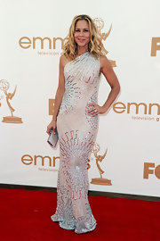 Maria Bello donned a radiating crystal gown at the 2011 Emmys. The one-shoulder frock perfectly showed off Maria's svelte figure.