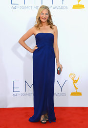 Jennifer Westfeldt chose a simple yet sophisticated cobalt strapless gown for her Emmy Awards red carpet look.
