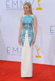 Nicole looked like a goddess at the Emmys in this blue-beaded white column dress.