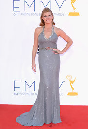 Connie Britton posed confidently on the red carpet in this silver beaded gown.