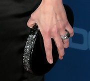 The actress upped the sparkle with a jeweled cocktail ring.