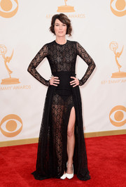 Lena Headey showed some skin in this long-sleeve lace gown on the red carpet of the 2013 Emmy Awards.