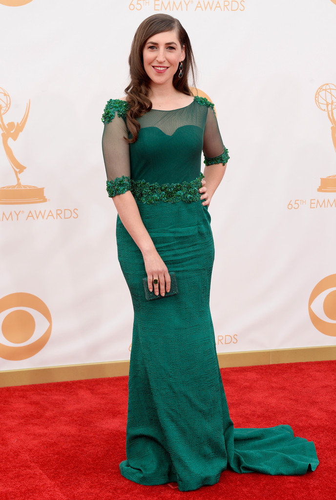 Megan Markle Wikipedia >> Mayim Bialik in Oliver Tolentino Couture - Best & Worst Dressed at the 2013 Primetime Emmy ...