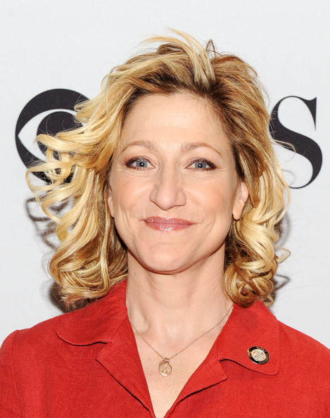Edie Falco looked lovely with her short curls at the Tony Awards meet-the-nominees press reception.