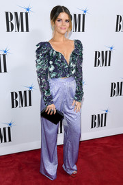 Maren Morris chose a purple ruffle crop-top by Raisa & Vanessa for the 2018 BMI Country Awards.