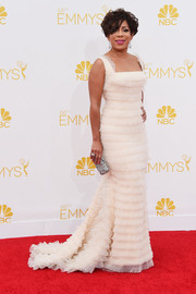 The 'Orange is the New Black' actress selected an elegant layered gown for the 2014 Emmy Awards.