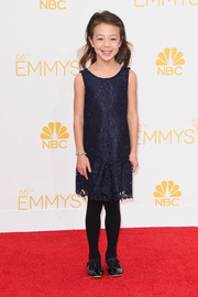 Aubrey Anderson-Emmons donned a cute midnight-blue lace dress for the Emmys.