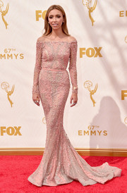 Giuliana Rancic looked divine on the Emmys red carpet in a beaded pink off-the-shoulder gown.