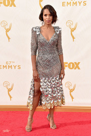 Kerry Washington was all aglitter at the Emmys in a beaded silver Marc Jacobs dress with a plunging neckline and a leg-baring slit.