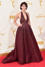 Lena Headey was pure drama in this beaded burgundy halter gown by Zuhair Murad Couture at the Emmy Awards.