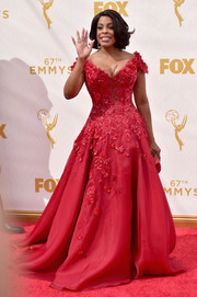 Niecy Nash brought a heavy dose of fairytale glamour to the Emmy Awards with this embellished red princess gown by Mark Zunino.