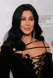 Cher showed off retro center part curls at the Golden Globe Awards.