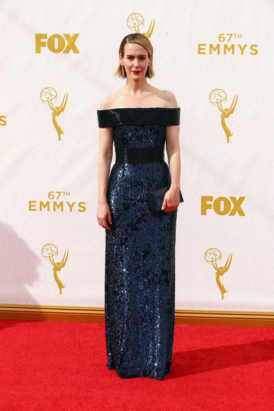 More Pics of Sarah Paulson Side Parted Straight Cut (5 of 18) - Sarah Paulson Lookbook - StyleBistro [dress,clothing,red carpet,shoulder,carpet,gown,flooring,fashion,hairstyle,strapless dress,arrivals,sarah paulson,microsoft theater,los angeles,california,primetime emmy awards]