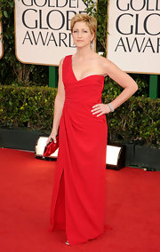 Edie Falco was ravishing in a red one-shouldered Valentino gown.