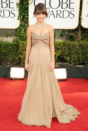 Sarah was a vision in a soft ecru evening gown with a lace bustier.