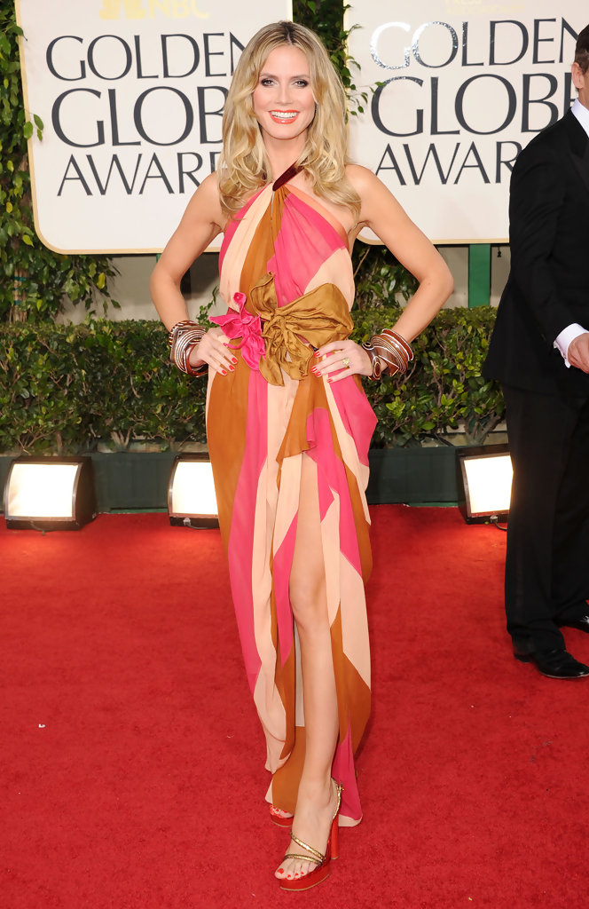 TV personality Heidi Klum arrives at the 68th Annual Golden Globe Awards held at The Beverly Hilton hotel on January 16, 2011 in Beverly Hills, California.