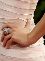 Talk to the hand! Maria was a showstopper in a white gold diamond ring with smoky and pink quartz.