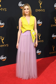Laura Carmichael looked whimsical in a bow-detailed yellow and lavender Delpozo gown during the Emmy Awards.