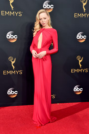 Portia Doubleday made a sultry choice with this red keyhole-cutout gown for her Emmy Awards look.