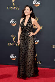 Julia Louis-Dreyfus looked fab at the Emmys in an embroidered black halter gown by Carolina Herrera.