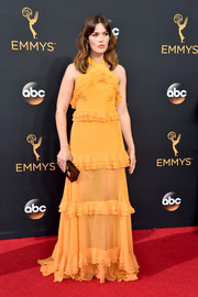 Mandy Moore charmed in a yellow ruffle halter gown by Prabal Gurung at the Emmy Awards.